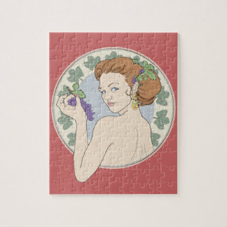Art Nouveau Wine Lover Girl with Grapes Puzzle