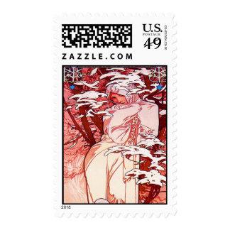 Art Nouveau Winter Alphonse Mucha Postage Stamp