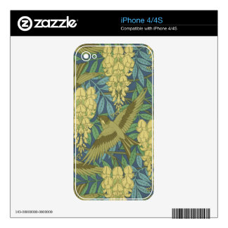 Art Nouveau Wisteria and Birds Decals For iPhone 4S