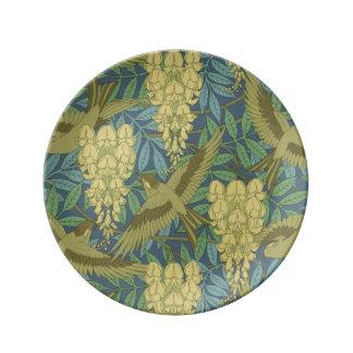 Art Nouveau Wisteria and Birds Dinner Plate
