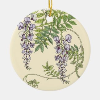 Art nouveau wisteria ceramic ornament