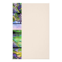 Art Nouveau Wisteria Flowers Floral Stationery