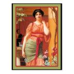 Art Nouveau Woman and Poppy Flowers Postcards