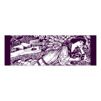 Art Nouveau Woman Reading Double-Sided Mini Business Cards (Pack Of 20)