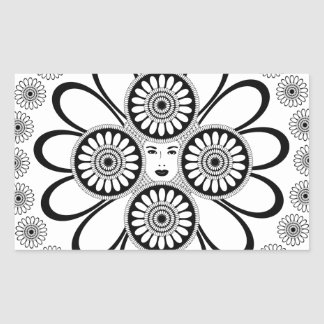 Art Nouveau Woman Rectangular Sticker