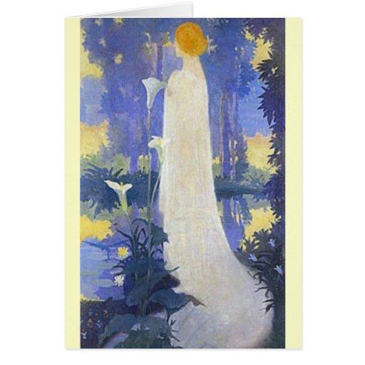 Art Nouveau Woman with Calla Lilies Card