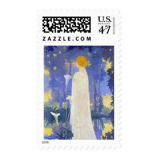 Art Nouveau Woman with Calla Lilies Postage