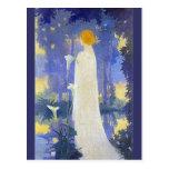 Art Nouveau Woman with Calla Lilies Postcard