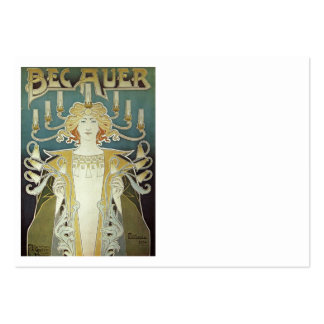 Art Nouveau Woman with Candles Large Business Cards (Pack Of 100)