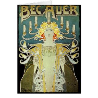 Art Nouveau Woman with Candles Card