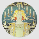 Art Nouveau Woman with Candles Classic Round Sticker