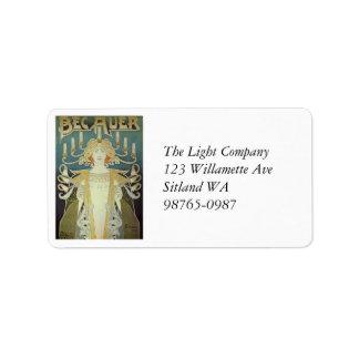 Art Nouveau Woman with Candles Label