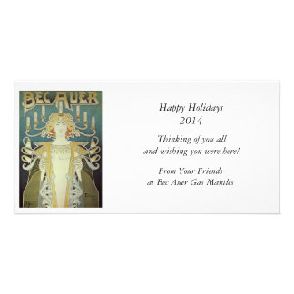 Art Nouveau Woman with Candles Photo Greeting Card