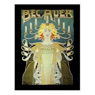 Art Nouveau Woman with Candles Postcard