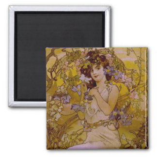 Art Nouveau Woman with Clematis 2 Inch Square Magnet
