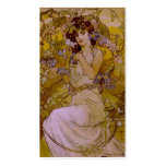 Art Nouveau Woman with Clematis Business Card Template