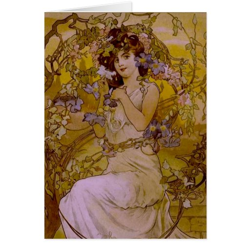Art Nouveau Woman with Clematis Greeting Card | Zazzle: www.zazzle.com/art_nouveau_woman_with_clematis_cards...