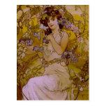 Art Nouveau Woman with Clematis Postcard