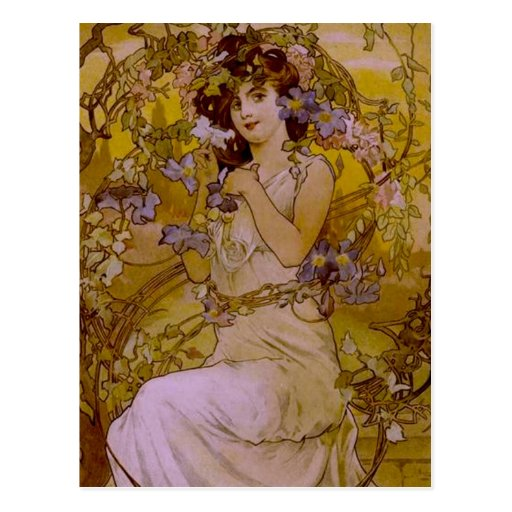 Art Nouveau Woman with Clematis Post Cards