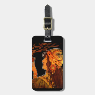 Art Nouveau Woman with Coffee Bag Tag
