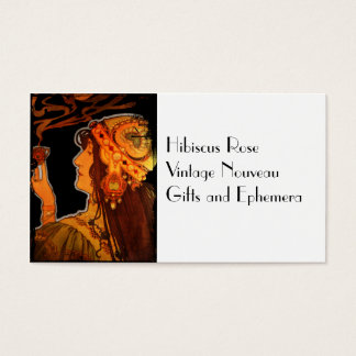Art Nouveau Woman with Coffee Business Card