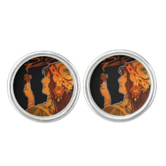 Art Nouveau Woman with Espresso Cufflinks
