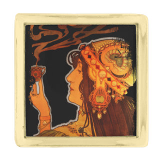 Art Nouveau Woman with Espresso Gold Finish Lapel Pin