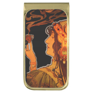 Art Nouveau Woman with Espresso Gold Finish Money Clip