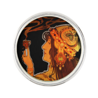 Art Nouveau Woman with Espresso Pin