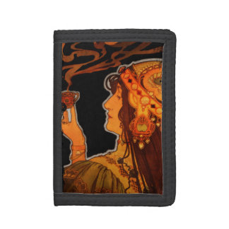 Art Nouveau Woman with Espresso Trifold Wallet