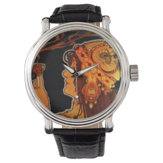 Art Nouveau Woman with Espresso Wrist Watch