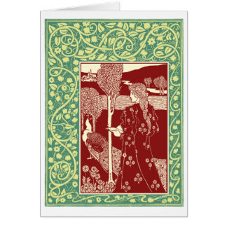 Art Nouveau woman with peacock Greeting Card