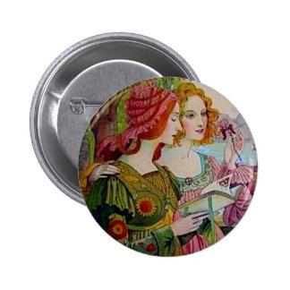 Art Nouveau Women with Book Button