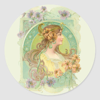 Art Nouveau Young Woman Girl with Stars Flowers Classic Round Sticker