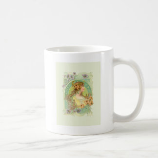 Art Nouveau Young Woman Girl with Stars Flowers Coffee Mug