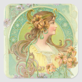 Art Nouveau Young Woman Girl with Stars Flowers Square Sticker