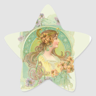 Art Nouveau Young Woman Girl with Stars Flowers Star Sticker