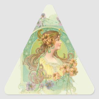 Art Nouveau Young Woman Girl with Stars Flowers Triangle Sticker