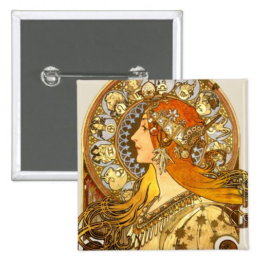 Art Nouveau Zodiac Button