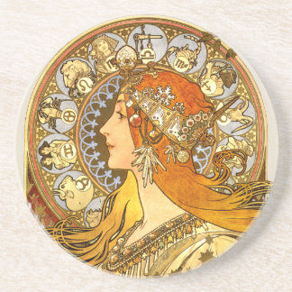 Art Nouveau Zodiac Drink Coaster