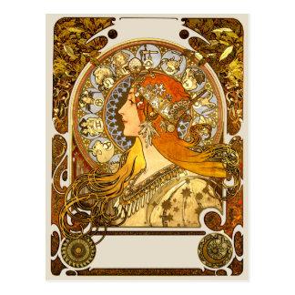 Art Nouveau Zodiac Postcard