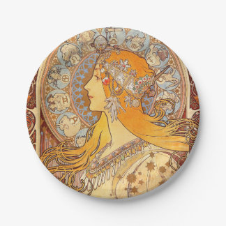 Art Nouveau Zodiac Woman Paper Plate