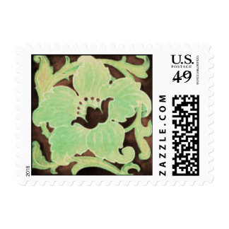 Art Noveau Floral Motif Brown and Green Postage