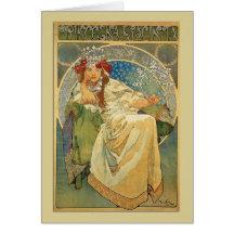 Art Noveau Princess Hyacinth Note or Greeting Card