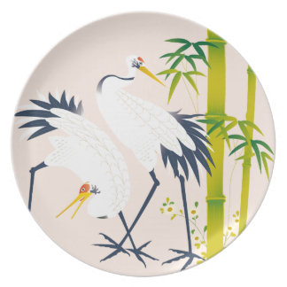 art of beautiful cranes in the bamboo thicket dinner plates