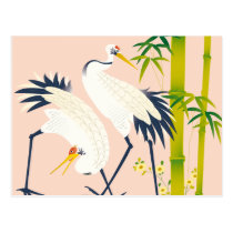 art of beautiful cranes in the bamboo thicket postcard