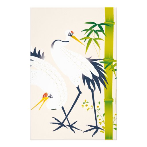 art of beautiful cranes in the bamboo thicket stationery