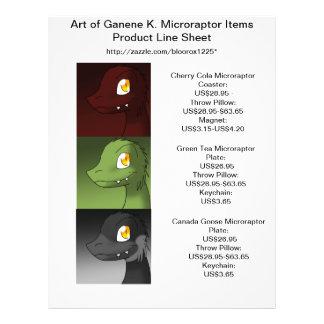 Art of Ganene K. Microraptors Product Line Sheet 1