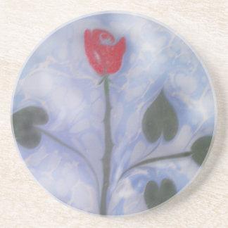 Art of Marbling red rose  Coaster