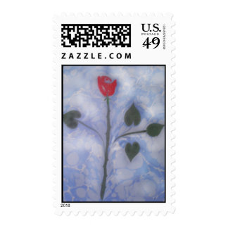 Art of Marbling red rose  Postage